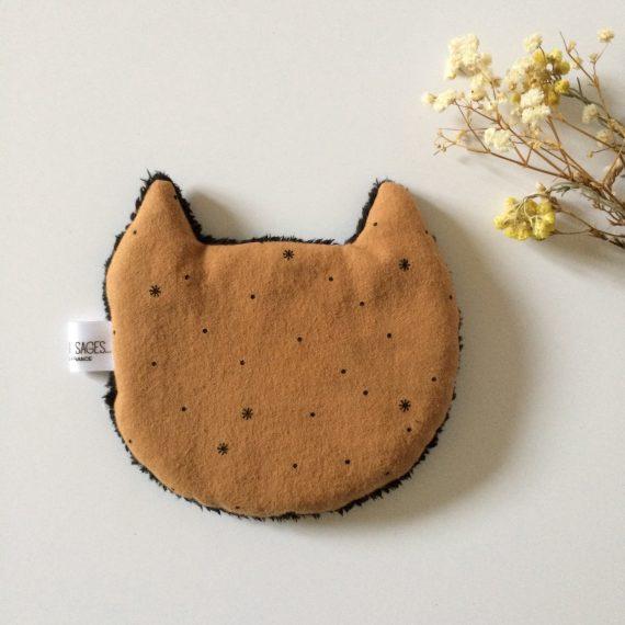 bouillotte mini chat flanelle caramel et dos noir mes enfants pas si sages. Black Bedroom Furniture Sets. Home Design Ideas