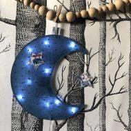 Lune zoo bleue plumetis allumée