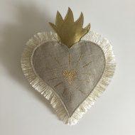 exvoto lin doré coeur paillettes posé